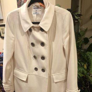 white winter dress coat